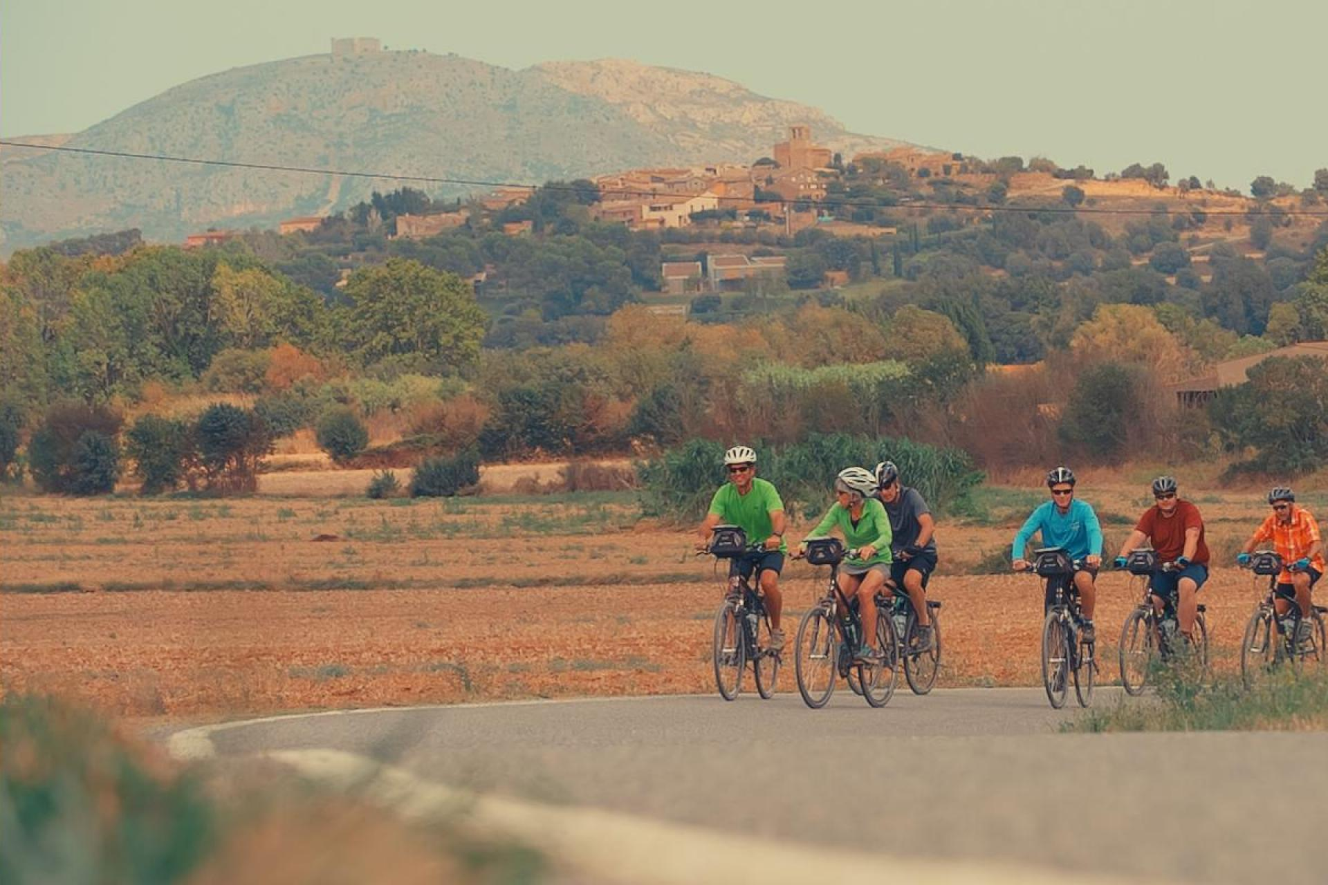 Cycling in Catalonia with mountains in the distance