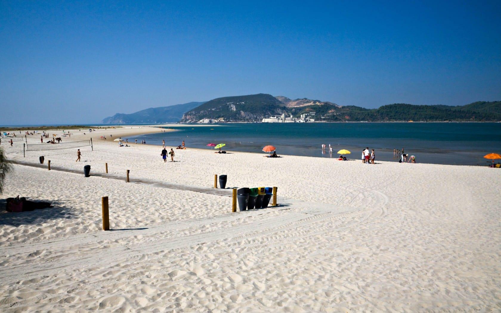 White sand beach at Troia Peninsula, Portugal