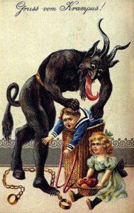 Vintage image of Krampus stuffing children into a basket