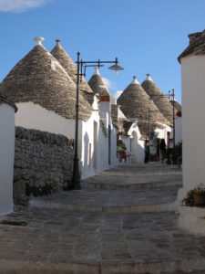 A street in Alberobello lined with trulli