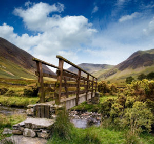 A bridge along a UK hiking trail