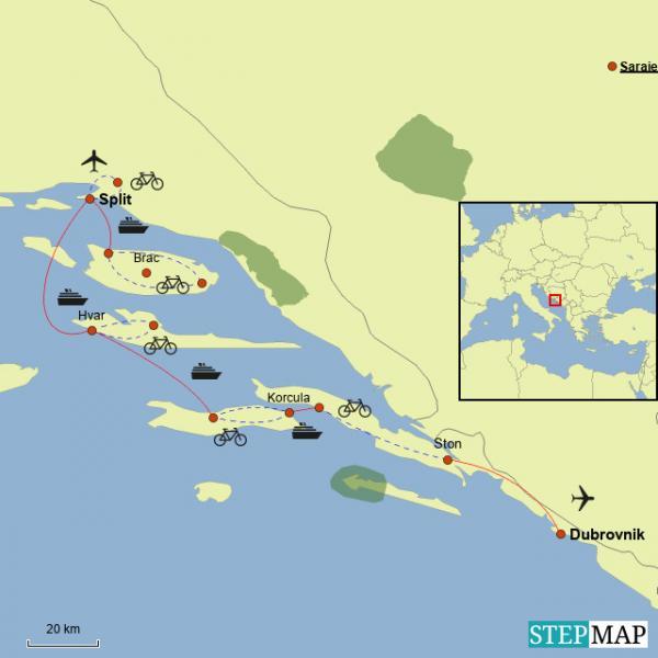 Croatia bike tour Dalmatian coast