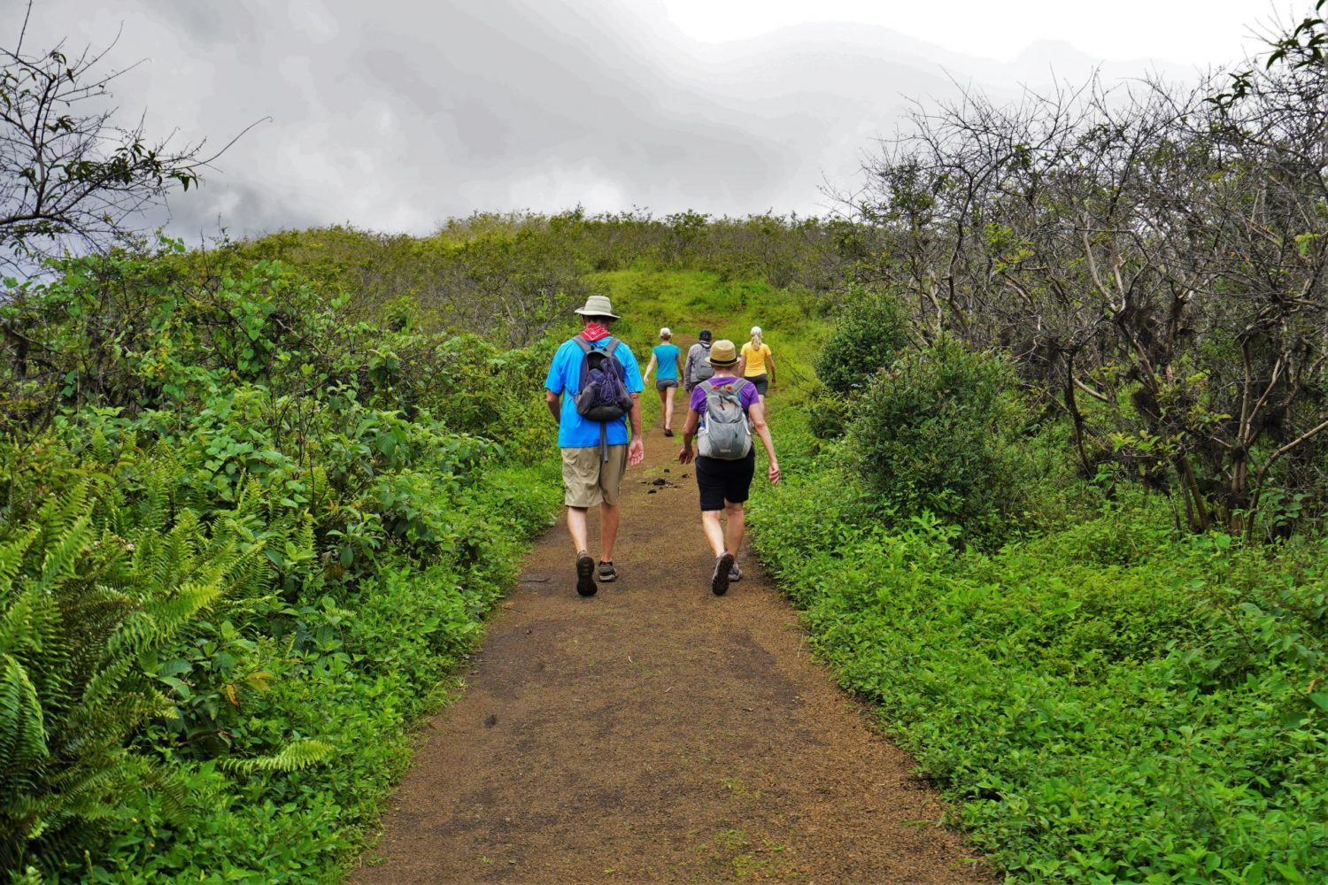 Two hikers in the Galapagos