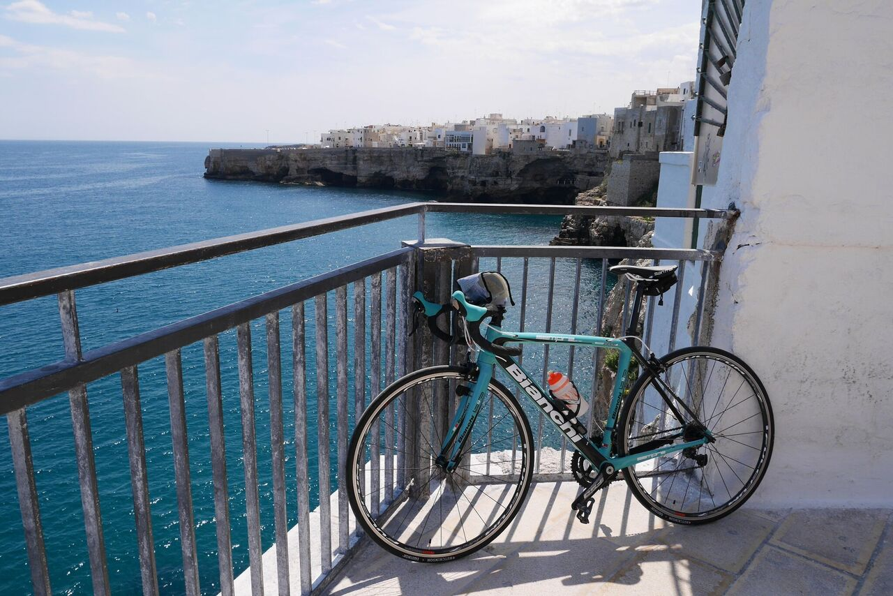 Enjoy beautiful ocean views on this self-guided Puglia bike tour