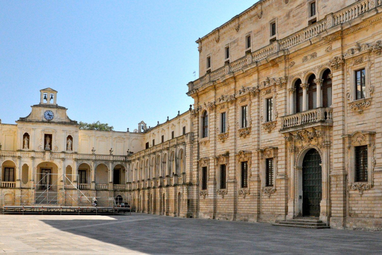 Beautiful historical buildings in Lecce, Puglia bike tour