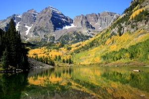 The world famous Maroon Bells are the most photographed peaks in North America