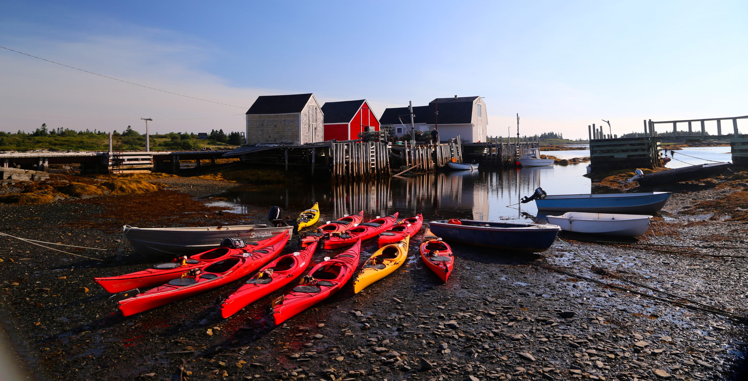 Colorful kayaks lined up along the shore; quintessential Quebec!