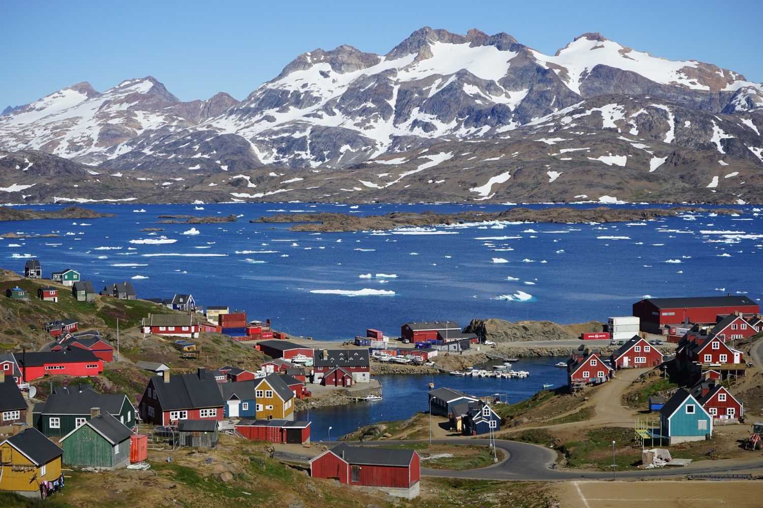 Colorful Tasiilaq village in Greenland with beautiful views!